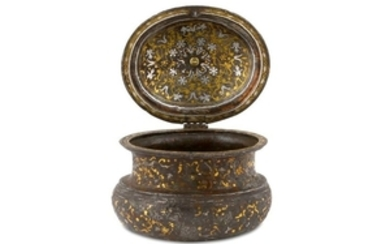 A SILVER AND GOLD-INLAID LIDDED JAR Possibly early