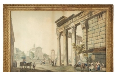 FRENCH SCHOOL, WATERCOLOR (EARLY 19TH CENTURY) UNKNOWN ARTIST TOWNSCAPE...