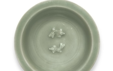 A SMALL LONGQUAN CELADON 'TWIN FISH' DISH SONG DYNASTY