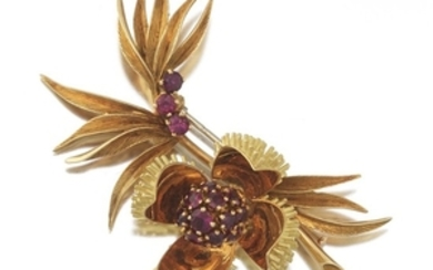 French Ladies' Gold and Ruby Floral Articulated Pin/Brooch