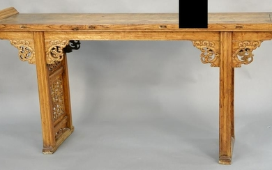 Large Provincial light wood altar table, China, 19th