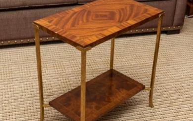 Brass & Mahogany Two Tier Table