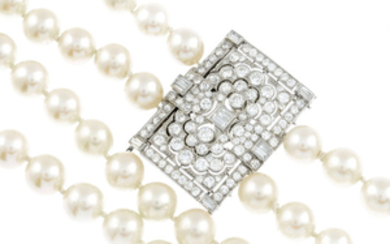 A cultured pearl necklace, with diamond Art Deco clasp.