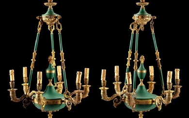 A Pair of Empire Style Six-Light Chandeliers