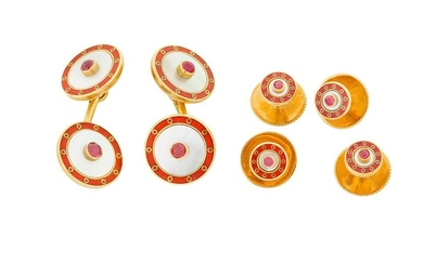 An enamel, mother-of-pearl and ruby dress set, by