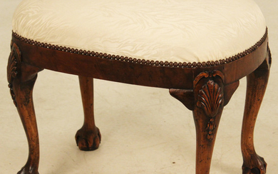 ENGLISH BALL AND CLAW OVAL WALNUT STOOL
