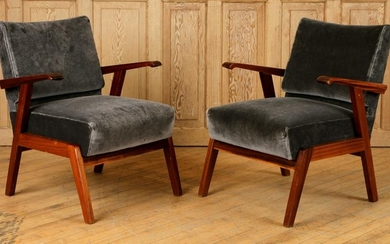 PAIR ITALIAN MAHOGANY UPHOLSTERED LOUNGE CHAIRS
