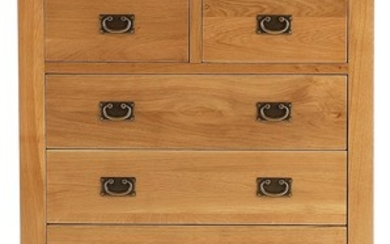 A new oak two over three chest of drawers with 100cm W x 102...