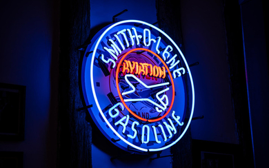 A Smith-O-Lene Aviation Brand Gasoline neon sign