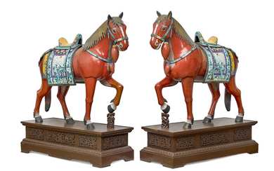 A Very Large Pair of Chinese Cloisonné Horses