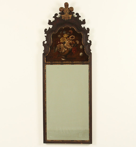 ENGLISH WALNUT MIRROR W/ OIL ON PANEL FLORAL RESERVE