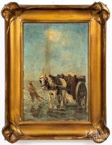 Oil on panel of a man with a horse and cart