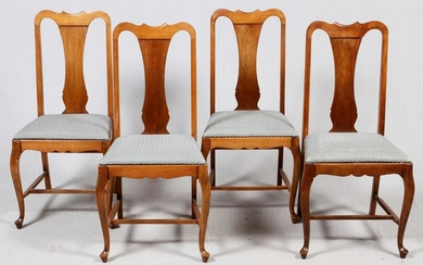 WALNUT QUEEN ANNE STYLE CHAIRS, SET OF 4