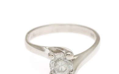 A diamond solitaire ring set with a brilliant-cut diamond weighing app. 0.91 ct., mounted in 14k white gold. H/P1. Size 54.5.