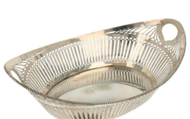 Bread basket sawn openwork with bars decoration and soldered pearl ring silver.