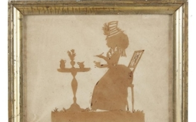 A silhouette of a seated woman having tea probably...