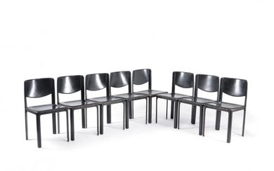 Tito Agnoli for Matteo Grassi, set of eight black leather dining chairs