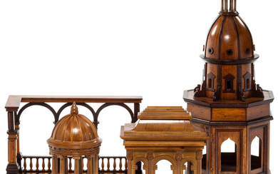 A Group of Four Wood Neoclassical Architectural Models (late 20th centur)