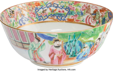 A Chinese Porcelain Rose Medallion Bowl (Qing Dynasty)
