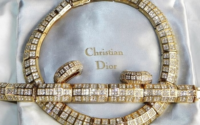 Gold-plated - Christian Dior XXL Set earrings, bracelet and necklace