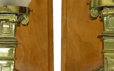 Pair of Bronze Wall Sconces with Frosted Glass Shade, Mounted on Wood Backi