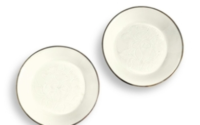 TWO SMALL CARVED 'DING' DISHES NORTHERN SONG DYNASTY