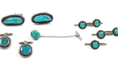 Navajo Silver and Turquoise Men's Dress Set