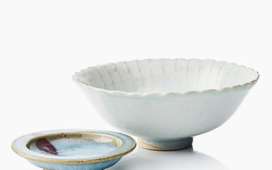 A Chinese jun ware saucer and a bowl