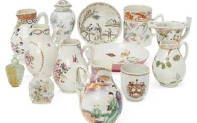 A collection of Chinese porcelain and two...