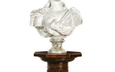 A Continental terracotta life-size bust of Diana