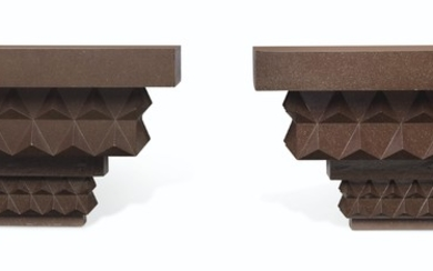 A PAIR OF FAUX PORPHYRY-DECORATED CONSOLES, DESIGNED BY TOM BRITT, SECOND HALF 20TH CENTURY