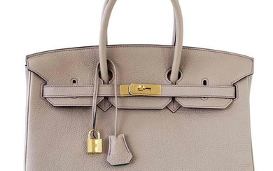 Hermes Birkin 35 Bag HSS Gris Tourterelle Purple Stitch