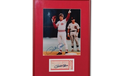 Pete Rose Autographed Photograph and Ticket Stub