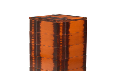 A lacquered-wood five-tier jubako (picnic box) and cover
