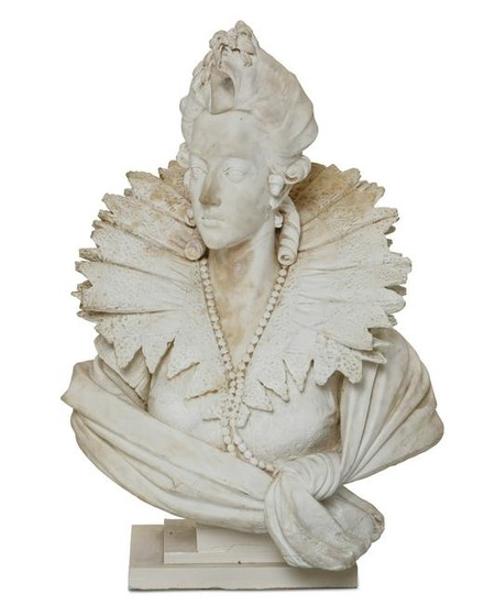 A carved white marble bust of Queen Isabella