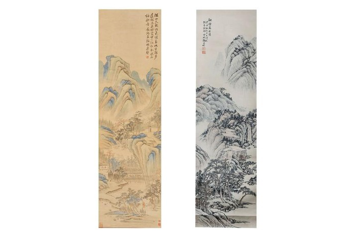 TWO CHINESE HANGING SCROLLS BY ZHANG WENSHU AND ZH
