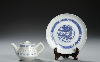 Chinese Blue and White Teapot and Dish
