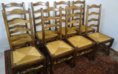 SET OF 8 LOUIS XIII STYLE PROVINCIAL CHAIRS