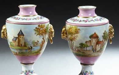 Pair of French Paris Porcelain Baluster Urns, 19th c.,