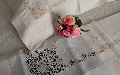 Museum quality double bedsheet made of pure linen with angels needle stitch embroidery - entirely handmade