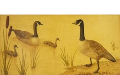 HÉLÈNE WHITWELL (20th centiry) CANADA GEESE Signed with initials...