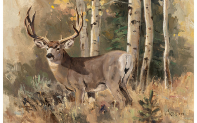 Ken Carlson (b. 1937), Stag in the Woods