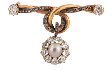 A RUSSIAN DIAMOND AND GOLD BROOCH, WORKMASTER FYODOR LORIE, MOSCOW, 1908-1916