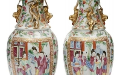 A pair of Chinese Canton porcelain baluster...