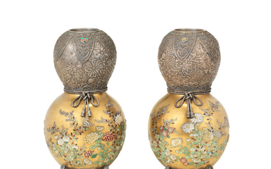 A fine and unusual pair of silver and gold lacquer Shibayama inlaid vases