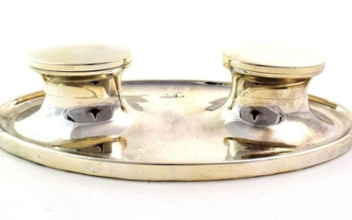 A George V Silver Double-Capstan Inkwell, by A. and J....