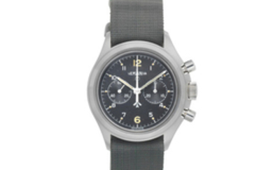 Lemania. A stainless steel manual wind military chronograph wristwatch issued to the Royal Navy