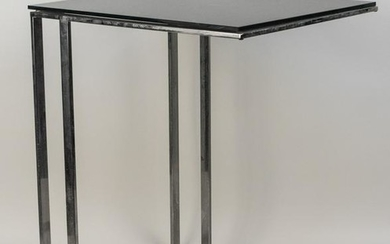Glass Top Chrome Side Table