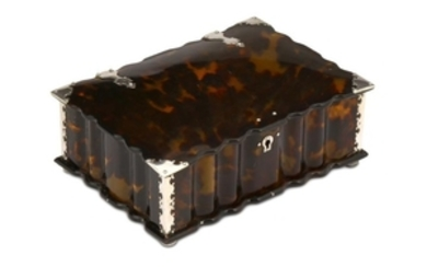 A SILVER-MOUNTED TORTOISE SHELL BOX Sri Lanka, mid to
