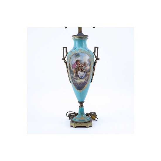 19th Century French Sevres Style Bronze Mounted Porcelain Lamp. Gilt scroll